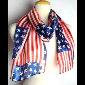Wow Patriotic Silk Flag Scarf NEW